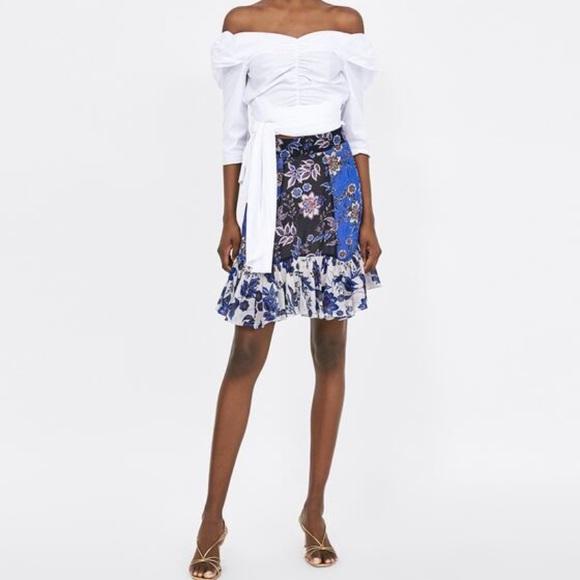 Zara Dresses & Skirts - Zara Patchwork mini skirt XS